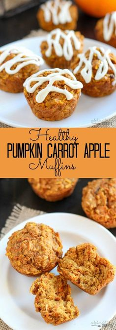 Healthy Pumpkin Carrot Apple Muffins - Tender lightly spiced pumpkin muffins filled with shredded apples and carrots. Similar to pumpkin bread and carrot cake - but healthier!
