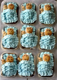 Little  cakes covered in a butter cream blanket for a baby shower. It was a boy!!!