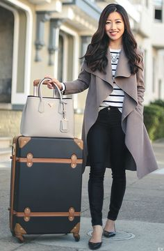 """Jean Wang + flowy oversized cardigan + comfy flat pointed shoes.  Travel Outfits: Wrap: Boohoo + Jeans: J + Br+ Flats: BP + Tote: Prada + Luggage: DVF 24"""" Adieu + Necklace: Baublebar + Tee: Talbots"""