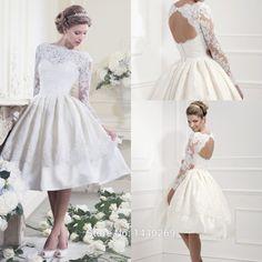 v neck backless short sleeved high waisted knee length wedding dress - Google Search