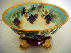 2 Pc Punchbowl LIMOGES France TV Handpainted GRAPES FLORAL Gold Claw Foot Base. Woooow!!!! 1894-1900. 10 in diameter bowl. With base!!