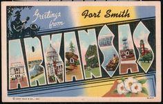 Fort Smith AR Arkansas Vintage Large Big Letter Linen Postcard Old PC | eBay