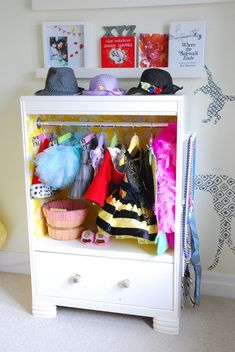 dress up center made from old chest of drawers.