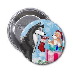 Christmas Doggies! Pinback Button #dogs #puppies #christmas #xmas #husky
