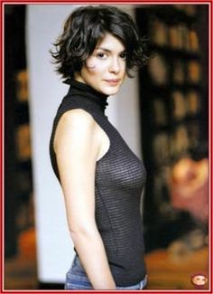 Audrey Tautou layered bangs, short hair styles