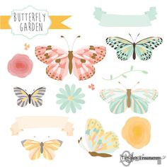 Check out Butterfly Garden Clipart & Vectors by Tangle's Treasures on Creative Market