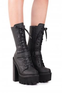 Lace-up lug sole platform heeled boots. - Fits true to size - Measurements taken from size 6 - heel, platform - shaft - Leather upper, leather lining, synthetic sole - Velcro, lace-up and zipper closures Goth Shoes, Shoes Heels, Heeled Boots, Shoe Boots, Unique Shoes, Mode Style, Club Style, Platform Shoes, Look Cool