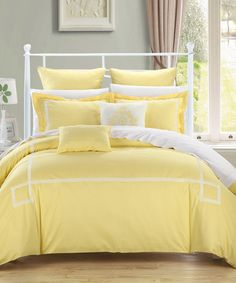 Another great find on #zulily! Yellow Woodford Comforter Set #zulilyfinds  This would make an extremely happy, energetic bedroom space.