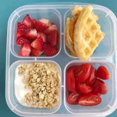 Easy breakfast-for-lunch idea to start the week! Strawberries, halved grape tomatoes, yogurt with granola, waffle with mashed roasted sweet… Lunch Snacks, Lunch Recipes, Baby Food Recipes, Cooking Recipes, Cold Lunches, Lunch Meal Prep, Healthy Meal Prep, Healthy Snacks, Healthy Recipes