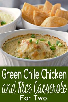 These individual Green Chile Chicken and Rice Casseroles are bold, super easy, and flavorful. Tender juicy chicken, rice, and creamy diced green chile sauce are smothered in a layer of melted Monterey Jack cheese. Cooking App, Cooking For Two, Batch Cooking, Cooking Recipes, Cooking Pork, Healthy Cooking, Cooking Trout, Cooking Icon, Cooking Broccoli