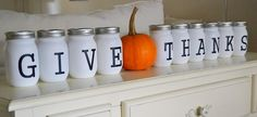 This would be really cute with fall leaves stems or wheat or something fallish coming out of each mason jar!!!!