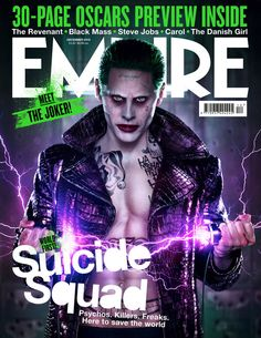 """Jared Leto's Empire cover as the Joker has also been released, along with Cara Delevingne's.   Margot Robbie Is Creepy As Fuck As Harley Quinn On The Cover Of """"Empire"""""""