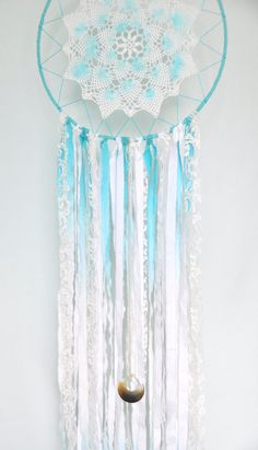 Bohemian Dreamcatcher Doily Dream Catcher Aqua by MatriartBoutique