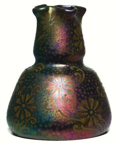 "Weller Pottery, Sicard line, double-gourd vase with a cinched neck and ruffled lip, signed Sicardo Weller, impressed mark, 7""h  