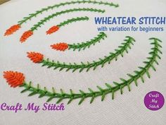 Wheatear Stitch for beginners with a slight variation for better understanding. Wheatear stitch resembles tip of wheat plant or sheaf of wheat, hence the nam. Learn Embroidery, Japanese Embroidery, Embroidery For Beginners, Crewel Embroidery, Hand Embroidery Patterns, Embroidery Techniques, Ribbon Embroidery, Brazilian Embroidery, Satin Stitch