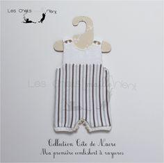 Combinaison courte bébé mixte à fines rayures, coloris écru, beige et chanvre, 1-3 mois : Mode Bébé par les-chatsmaillerient