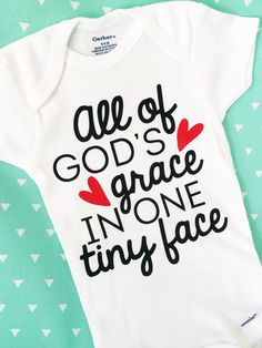 All Of Gods Grace in One Tiny Face Onesie, Miracle Baby Onesie, Cute Onesie, Gender Neutral Onesie, Baby Onesie, IVF Gift, Christian Onesie by ChiefAndLily on Etsy https://www.etsy.com/listing/471964469/all-of-gods-grace-in-one-tiny-face