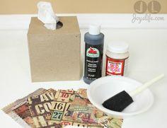 Tim Holtz Fabric Mod Podge Tissue Box - All About Fall Blog Hop   Joy's Life