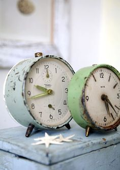 Vintage alarm clocks. I collect these. My friend @Andrea Hoinka suggested I set them to the times my girls were born, I was married, etc.