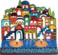 $40 Jerusalem: Yair Emanuel Painted Laser Cut Metal Candle Holder, Jewish & Israeli Art | Judaica Web Store