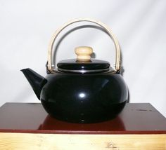 Vintage Black Tea Pot Enamel Teapot Danish Modern by chriscre