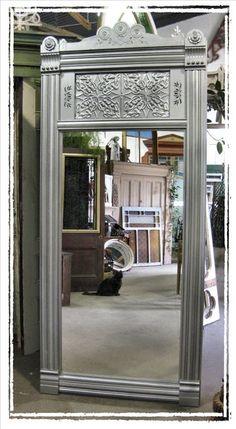 I just found one of these frames with window in top in our barn! Yeah!  An old door could become a full-length mirror.
