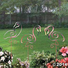 Set of 3 Cute Tropical Florida Pink Flamingo Swirl Yard Decor Metal Stake Garden Outdoor Yard Display Art Whimsical Spring Decoration Flamingo Garden, Flamingo Decor, Flamingo Painting, Yard Flamingos, Pink Flamingos, Pink Bird, Pink Feathers, Yard Art, Outdoor Gardens
