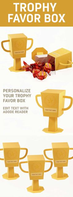 Trophy Favor Box Printable PDF Create a Trophy Favor Box. Easy Paper Craft The post Trophy Favor Box Printable PDF appeared first on Paper Diy. Trophy Craft, Diy Trophy, Trophy Cup, Easy Paper Crafts, Diy Paper, Foam Crafts, Paper Gifts, Diy Crafts, Printable Box