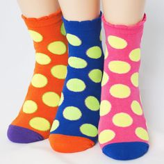 FLUORESCENCE BIG DOT SOCKS 3PAIRS=1PACK Made in KOREA women woman girl big kids #COLORMIX #allStyle
