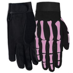 Hot Leathers Women's Pink Skeleton Mechanic Gloves (Black, Medium) Nylon and synthetic leather mechanics glove Adjustable wrist closure Pink skeleton design Ladies gloves Female Motorcycle Riders, Motorcycle Gloves, Women Motorcycle, Biker Chick Style, Mechanic Gloves, Woman Mechanic, Leather Jackets For Sale, Riding Gear, Biker Girl