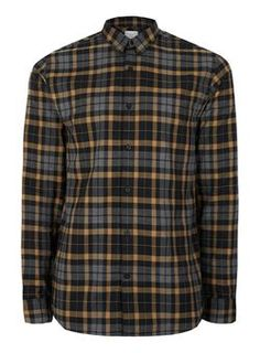 SELECTED HOMME Grey and Yellow Check Shirt