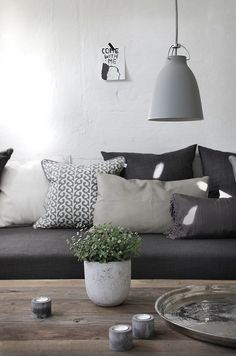 really great mix of textiles & style pillows.  Love how the wood grain and a plant brings organic elements to room.