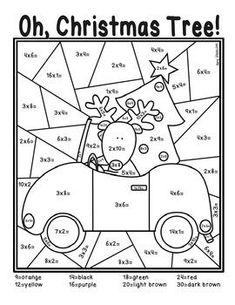 Christmas Tree Multiplication Coloring Sheet Christmas