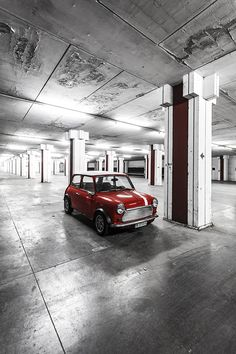 Red Classic Mini. Beautiful picture...