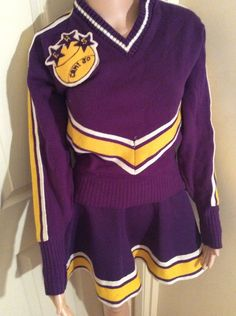 Vintage Kandel Cheerleading Costume - Purple @ Yellow - Sweater & Skirt   eBay