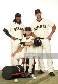 Johnny Cueto, Buster Posey and Madison Bumgarner