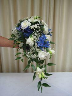 Blue Wedding Flower Bouquets | ... , White Roses, Freesia, Eryngiums Brides Bouquet of wedding flowers #blueweddingflowers
