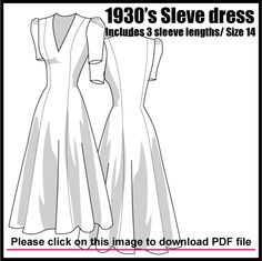 Free Pattern :   1930′s LONGLINE DRESS WITH COLLAR DETAIL