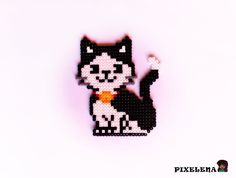 Cat hama/perler beads by PixelenaMV on deviantART Perler Bead Designs, Perler Bead Templates, Hama Beads Design, Pearler Bead Patterns, Diy Perler Beads, Perler Bead Art, Perler Patterns, Pearler Beads, Fuse Beads