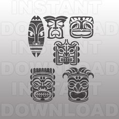 Tiki Heads SVG File Cutting Template  Vector Clip Art for by sammo (Craft…