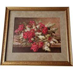 Antique Roses Print Raoul de Longpre Rose Lilacs c1916 Victorian Rose Prints on rubylane.com