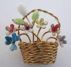 Vintage Costume Jewelry - Pretty Austrian Woven Basket of Enamel Flowers Pin - think spring!