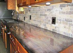 So cool! Just Doing It Your Way DIY granite epoxy countertops! So cool! Just Doing It Your Way Epoxy Countertop, Diy Marble, Butcher Block Countertops, Custom Countertops, Cement Countertops, Kitchen Redo, Countertops, Resin Countertops, Faux Marble Countertop