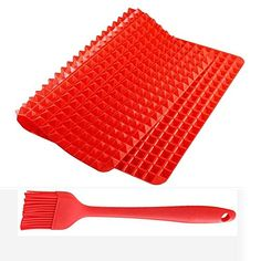 VOFO Silicone Baking Mat Healthy Cooking Baking Mat Nonstick Pyramid Pan Silicone Baking Mat Set Silicone Mould Oven Baking Tray with BBQ Brush Red *** Learn more by visiting the image link.