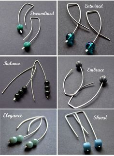 More easy earwires - combined with plannished wire to keep beads on. looks so easy to make!