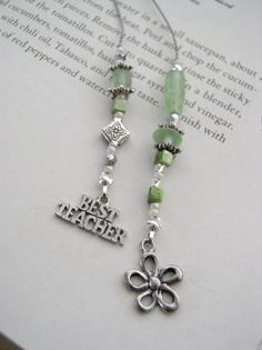 TEACHER GIFT Bookmark Beaded Book Thong in Green Glass, Silver, and Pearl