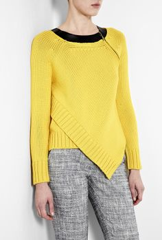 Yellow Panerea Leather Trim Chunky Knit, Sportmax
