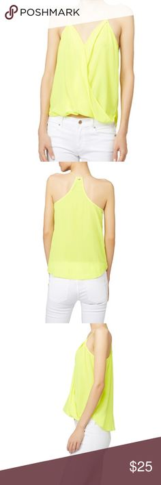 TRINA TURK Ally top in lime Spaghetti straps - non adjustable. Faux front wrap. Woven silk. A little longer in the back. Beautiful fit.  Offers accepted! Happy shopping:) Trina Turk Tops Blouses