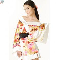 Geisha morgenkåpe - Sort / Hvit