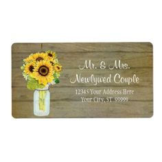 Rustic Country Mason Jar Flowers Sunflower Bouquet Label